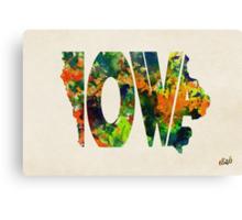 Iowa Typographic Watercolor Map Canvas Print