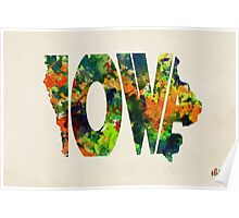 Iowa Typographic Watercolor Map Poster