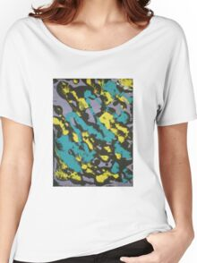Turquoise & Yellow Women's Relaxed Fit T-Shirt