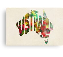 Australia Typographic Watercolor Map Metal Print