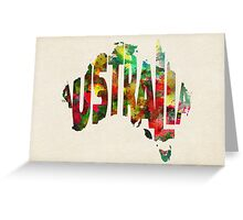 Australia Typographic Watercolor Map Greeting Card
