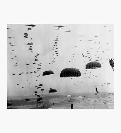 Allied Airborne Troops Parachuting - WWII Photographic Print