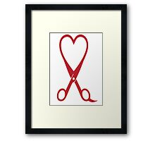 Awesome Heart and Shears Love T-Shirt for Hair Stylists Framed Print