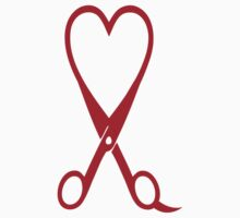 Awesome Heart and Shears Love T-Shirt for Hair Stylists by Albany Retro