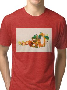 Austria Typographic Watercolor Map Tri-blend T-Shirt
