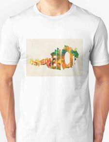 Austria Typographic Watercolor Map Unisex T-Shirt