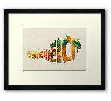Austria Typographic Watercolor Map Framed Print