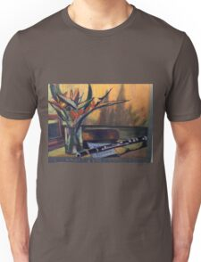 Flowers and Flute for Music Lovers Unisex T-Shirt