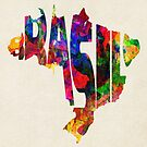 Brazil Typographic Watercolor Map by A. TW
