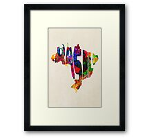 Brazil Typographic Watercolor Map Framed Print