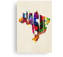 Brazil Typographic Watercolor Map Canvas Print
