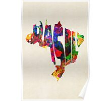 Brazil Typographic Watercolor Map Poster