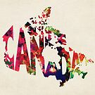 Canada Typographic Watercolor Map by Deniz Akerman
