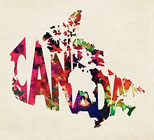 Canada Typographic Watercolor Map by A. TW