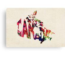 Canada Typographic Watercolor Map Canvas Print