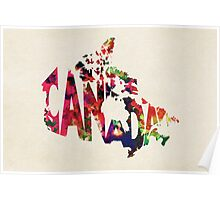 Canada Typographic Watercolor Map Poster