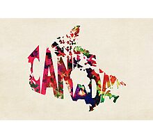Canada Typographic Watercolor Map Photographic Print