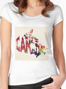 Canada Typographic Watercolor Map Women's Fitted Scoop T-Shirt