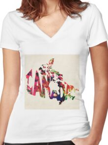 Canada Typographic Watercolor Map Women's Fitted V-Neck T-Shirt