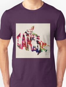 Canada Typographic Watercolor Map Unisex T-Shirt