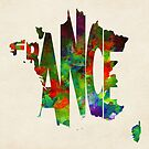 France Typographic Watercolor Map by A. TW