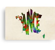 France Typographic Watercolor Map Canvas Print