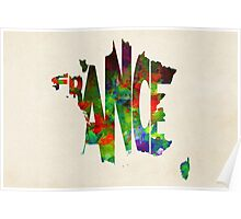 France Typographic Watercolor Map Poster