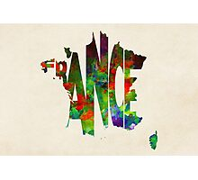 France Typographic Watercolor Map Photographic Print
