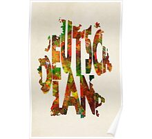 Germany Typographic Watercolor Map Poster