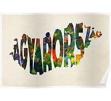 Hungary Typographic Watercolor Map Poster