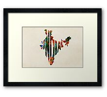 India Typographic Watercolor Map Framed Print