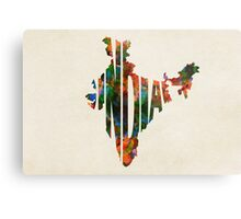 India Typographic Watercolor Map Metal Print