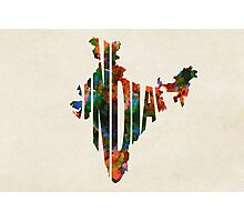 India Typographic Watercolor Map Photographic Print