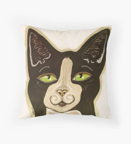 Oreo Mustachio the Cat Throw Pillow