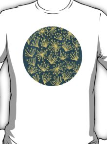 Queen Anne's Lace in Gold on Navy T-Shirt