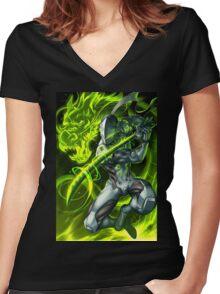 OVERWATCH GENJI Women's Fitted V-Neck T-Shirt