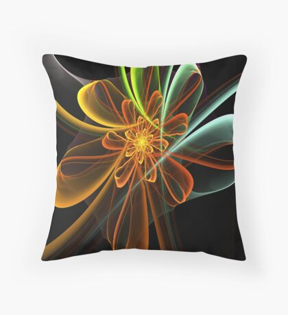 Glowing Bow Flower Throw Pillow