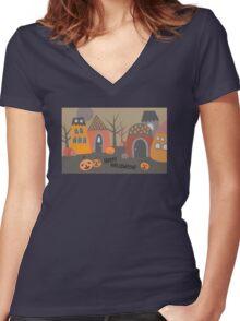 Cute Halloween Women's Fitted V-Neck T-Shirt