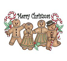 Merry Christmas Gingerbread Friends Photographic Print