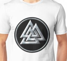 Norse Valknut - Silver and Black Unisex T-Shirt