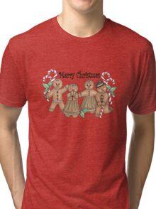 Merry Christmas Gingerbread Friends Tri-blend T-Shirt