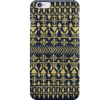 Norwegian Pattern – Gold & Navy iPhone Case/Skin