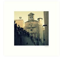 People Hanging Over Wall in Pamplona, Spain Art Print