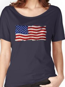 Tattered Grunge Patriotic USA Flag, United States Women's Relaxed Fit T-Shirt