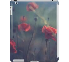 Red wild flowers poppies on hot summer day in blue tones Hasselblad square medium format film analogue photo iPad Case/Skin