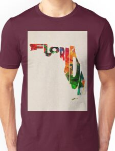 Florida Typographic Watercolor Map Unisex T-Shirt