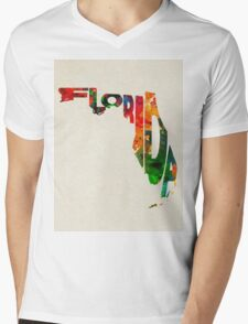 Florida Typographic Watercolor Map T-Shirt