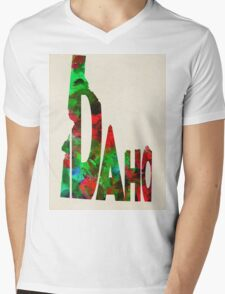 Idaho Typographic Watercolor Map Mens V-Neck T-Shirt