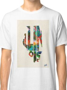 Illinois Typographic Watercolor Map Classic T-Shirt