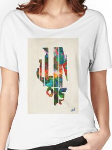 Illinois Typographic Watercolor Map Women's Relaxed Fit T-Shirt